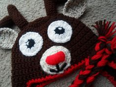 Rudolph the Red Nose Reindeer w/Ear Flaps & by DarlingBabyCrochet