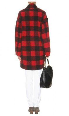 Original Quality Etoile Isabel Marant Coat Gabrie Plaid Wool-blend Trench Coats Rare Edition