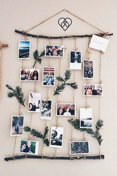 27 Extraordinary DIY Branches and DIY Log Crafts for Ornament Christmas Cute Diy Room Decor, Diy Wall Decor For Bedroom, Bedroom Desk, White Bedroom, Diy Home Crafts, Diy Home Decor, Aesthetic Room Decor, Diy Décoration, Photo Displays