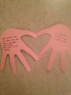 """Open when hands  """"When you feel alone just look at the space between your fingers and remember, that's where mine fit perfectly""""  """"I know my heart is safe in your hands"""" Army basic training letter"""