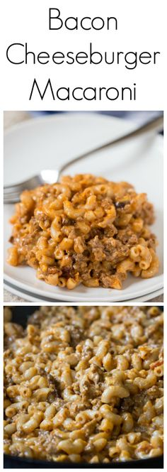 Bacon Cheeseburger Macaroni is a copycat Hamburger Helper recipe that tastes just like the boxed version, but much healthier! Beef Recipes, Real Food Recipes, Cooking Recipes, Yummy Food, Easy Recipes, Amazing Recipes, Recipies, Homemade Hamburger Helper, Food Dishes