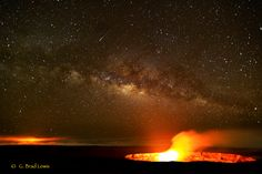 Hawaii - Big Island - The Milky Way and 2 active vents of Kiluea volcano. Photo by G. Brad Lewis