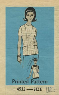 Vintage Apron Sewing Pattern | Mail Order 4532 | Year 196? | Size Large 38-40