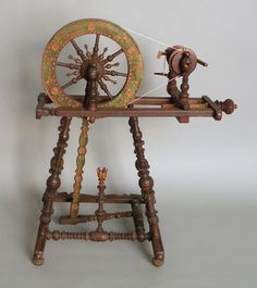 Bavarian carved and painted spinning wheel, 19th century