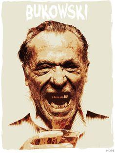 "Charles Bukowski 8x10"" Digital Illustration High Gloss Print by MOPS on Etsy, $15.00"