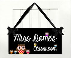 teacher gift door sign classroom owls themed signs by kasefazem, $8.99