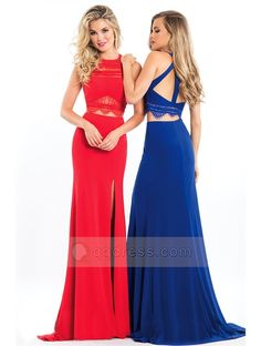 Sheath Sweep Train Halter Neck Lace Bodice Slit Front Jersey Two Piece Prom Dress