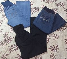 Maternity lot of 3 Jeans Oh Mamma & Motherhood Bootcut & Capris Size Large