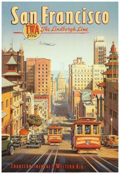 A Linha Lindbergh, São Francisco, Califórnia Impressão artística