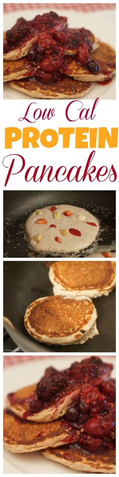 Super healthy low calorie high fibre protein pancakes made with cottage cheese, egg whites and oats!