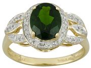 Chrome Diopside 1.83ct With White Diamond .09ctw 10k Yellow Gold Ring (ACM079)