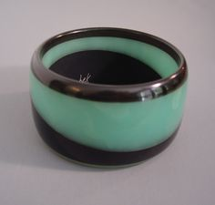 Dombek bakelite bangle in the Deco colors of aqua and black from MorningGloryJewelry.com : Buy online now for $195.00