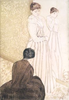 In the manner of Japanese print series, she conceived of a set of ten images, including The Fitting, depicting the daily activities of a typical middle-class woman. While Cassatt emulated the Japanese style—evident in the flattened forms, unmodulated planes of color, and strong decorative outlines—her technique was a highly inventive combination of printing processes that garnered critical admiration in Europe and America. Mary Cassatt (American, 1844–1926). The Fitting, 1890–91. Brooklyn…