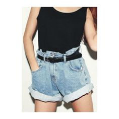 Rotita Boyfriend High Waisted Baggy Denim Shorts ($22) ❤ liked on Polyvore featuring shorts, blue, high-rise shorts, high-waisted shorts, blue high waisted shorts, denim shorts and baggy jean shorts