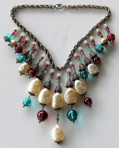 Rare Vintage Miriam Haskell Pearl & Glass Necklace c. 1950s.