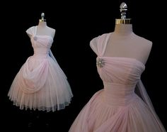 Vintage 1950s Pink Chiffon Strapless Draped Full Skirt Cocktail Party Dress XS