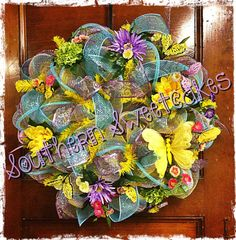 Spring Easter Butterfly Floral Mesh Wreath by SouthernSweetcakes