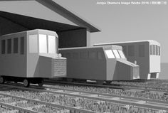 Tiny lite rail cars taking rest at the garage by 3ds Max  車庫に憩う軽便車輌たち(3ds Max)