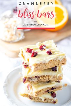 Whether you've tried this treat at a certain coffee shop or not you're sure to love the creamy citrusy winter goodness of these cranberry bliss bars! Beautiful Desserts, Great Desserts, Best Dessert Recipes, Holiday Recipes, Cookie Recipes, Delicious Desserts, Bar Recipes, Holiday Themes, Family Recipes