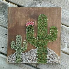 Custom string art cactus sign by Blossomingburlap on etsy - Cactus DIY Diy And Crafts, Arts And Crafts, Nail String Art, Pin Art String, Diy Y Manualidades, Cactus Decor, Cactus Diys, Cactus Art, Baby Cactus