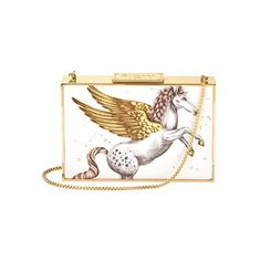 Aspinal of London Scarlett Box Clutch In Pegasus Ivory Print ($870) ❤ liked on Polyvore featuring bags, handbags, clutches, pegasus ivory print, white handbags, leather handbags, lightweight purses, leather purses and over the shoulder purse
