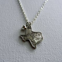 Silver State of Texas Charm Necklace with by CloudNineDesignz