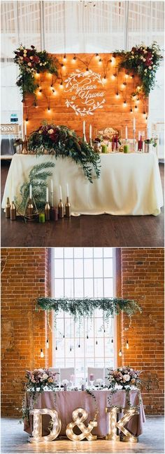 Rustic country wedding head table decor #weddings #weddingideas #countryweddings #rusticweddings #weddingdecor
