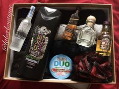 A Personalized DIY Gift for your Boyfriend, just under $99!  Use his favorite items! In this case: Pack of 4 Boxer Briefs, Pack of 6 Tank Under Shirts (only 3 fit into the gift, giving the rest later), Axe Body Wash, Black&Red Scrubber, IceBreakers DUO, and 4 mini shot bottles of his favorite alcohol! I also have a cute dancing card to put on top hehe.   Cute, thoughtful, creative, and you don't need to spend a fortune for his birthday! He'll appreciate your creativity more than anything!