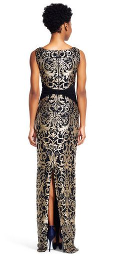 Adrianna Papell   Metallic Scroll Embroidered Lace Column Gown
