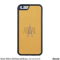 Rustic Yellow with Gray and Brown Monogram Carved® Maple iPhone 6 Bumper Case