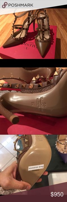 Brand new beautiful camel Valentino pumps 💯 authentic camel Valentino rock stud pumps never worn. Brand new comes with box. No trades no offers final price Valentino Shoes Heels