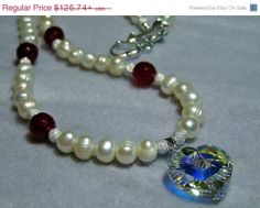 Mothers Day Specials 925 Silver Pearl Ruby Swarovski Crystal Heart Necklace & Earring Set