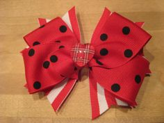 Heart Embellished Valentine's Day Stripes and Dots 2 layer boutique Hair Bow / Clip.