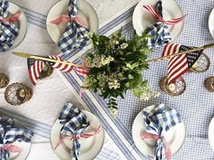 Red, White, and Blue Tables Featuring Check Fabrics – Blue and White Home