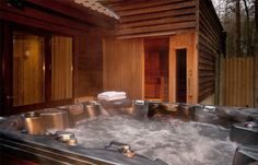 Hot tub and sauna of a 4 Bedroom Exclusive Lodge prototype for Woburn Forest