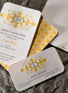 Letterpress invite #yellow #letterpress