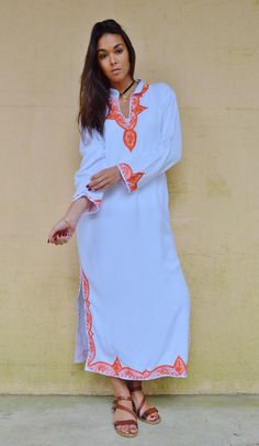 New Autumn Trendy Clothing White Orange Melik Moroccan Caftan Kaftan -maxi, resort, beach cover up, Birthdays, Moroccan, Maternity Gifts by MaisonMarrakech on Etsy