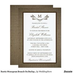 Rustic Monogram Branch On Burlap Bridal Shower Card