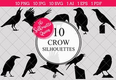 Crow Silhouette Clipart Vector includes PNG files with transparent backgrounds at The PNGs are approximately 10 inches at it's widest point. Crow Silhouette, Silhouette Clip Art, Black Silhouette, Silhouette Studio, Crow Pictures, White Bird Tattoos, Animal Cutouts, Bird Tattoo Wrist, Crow Bird