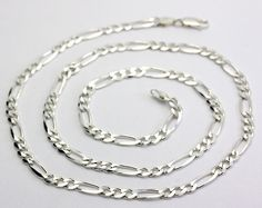"Sterling Silver Men's Figaro Chain Necklace Made in Italy 24"" #Chain"