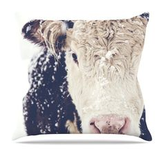 Snowy Cow by Debbra Obertanec Throw Pillow
