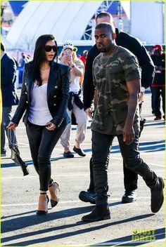 Kim Kardashian & Kanye West Are Anything But Sad for the Super Bowl 2015