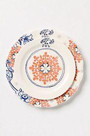Peach and blue dinnerware.