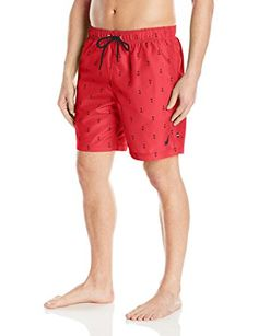 240f5954265 Nautica Men's Quick Dry All Over Classic Anchor Print Swim Trunk: Hit the  sand and surf in style. A classic anchor print gives these swim trunks  modern ...