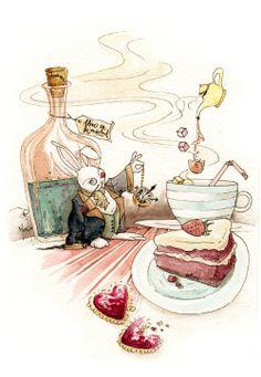 alice in wonderland, painting, watercolor Alice in Wonderland illustrations by Jonathan Maximillian Goh