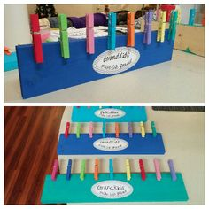 Easy DIY gifts for grandparents. Paint the board, paint each clothespin, and write in the sticker with a shaprie.