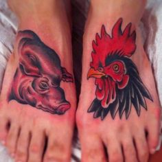 Rooster And Pig Tattoo Pictures #CoolTattooLife