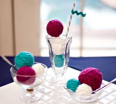 Vintage sweet shoppe shower -- love the yarn scoops of ice cream!