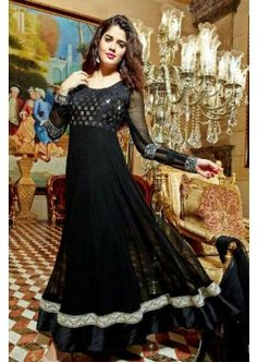 Black Pure Georgette Anarkali Suit, - Rs. 3,214.00, #FashionIndian #OnlineAnarkaliSuit #BuyNow #Shopkund