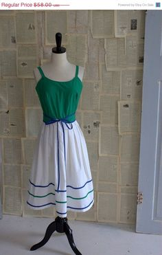 1970s Green Cotton Summer Dress ========> $46.40